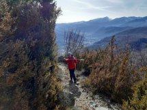 El camino ya es vereda. Al fondo el valle de benasque hacia Castejón de Sos